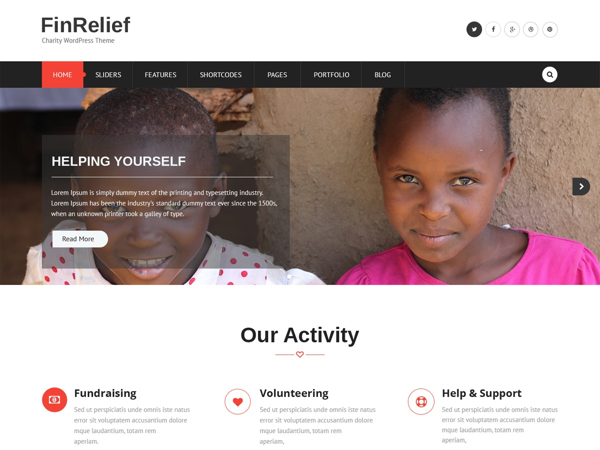FinRelief WordPress template for business