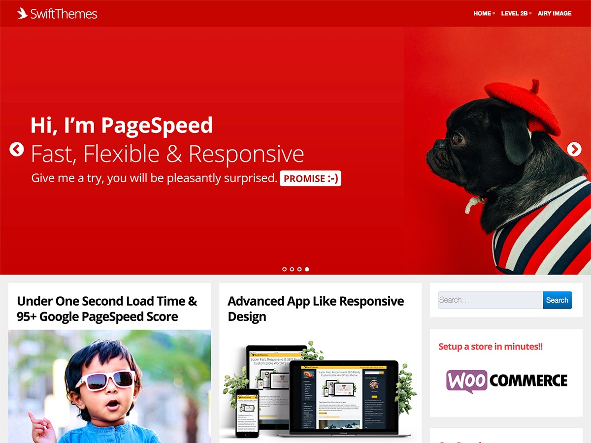 Page Speed best WooCommerce theme