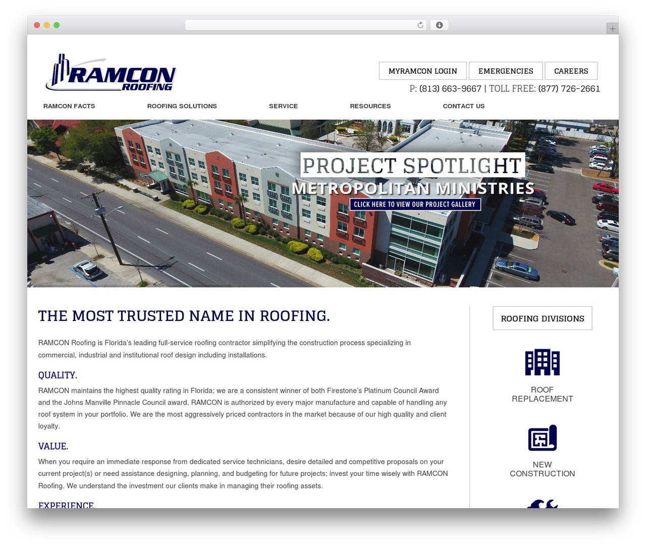 ramcon roofing wordpress website template ramconroofing com