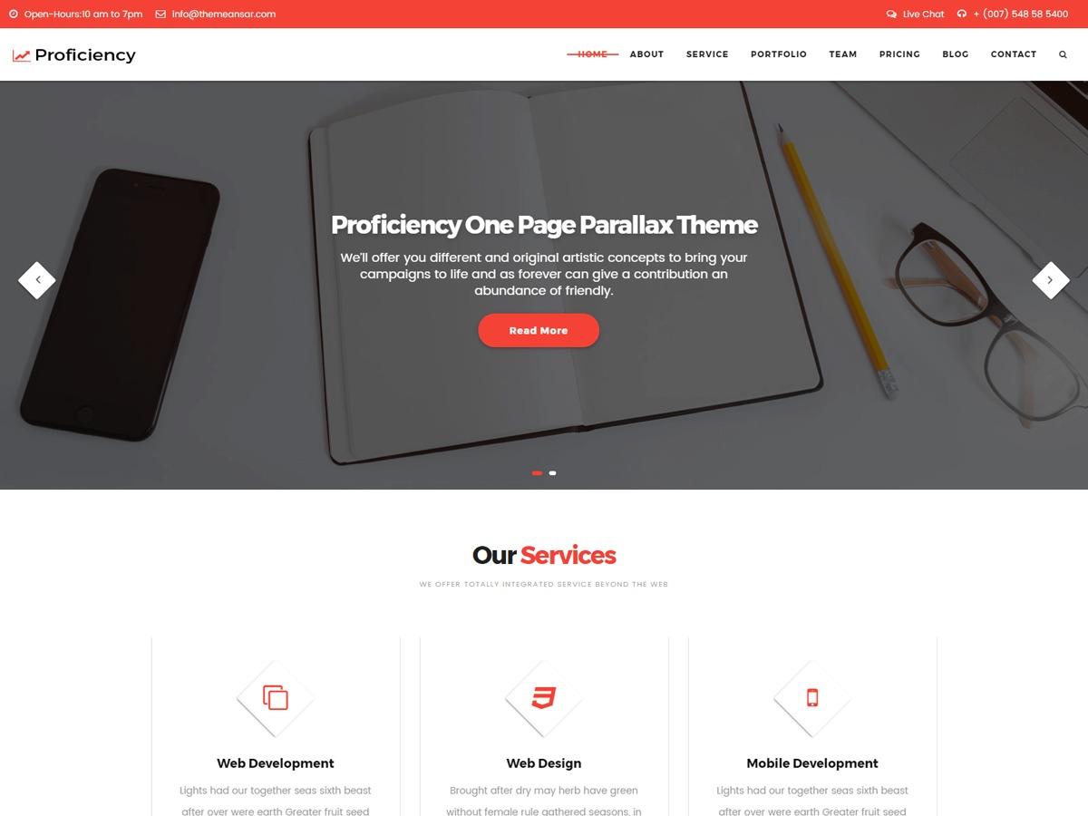 Proficiency template WordPress free