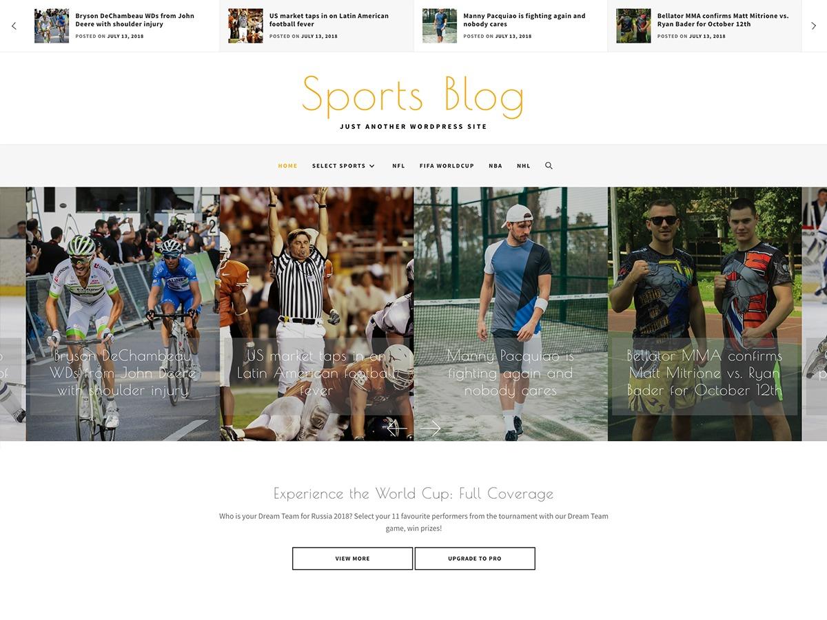 Sports Blog WordPress blog theme