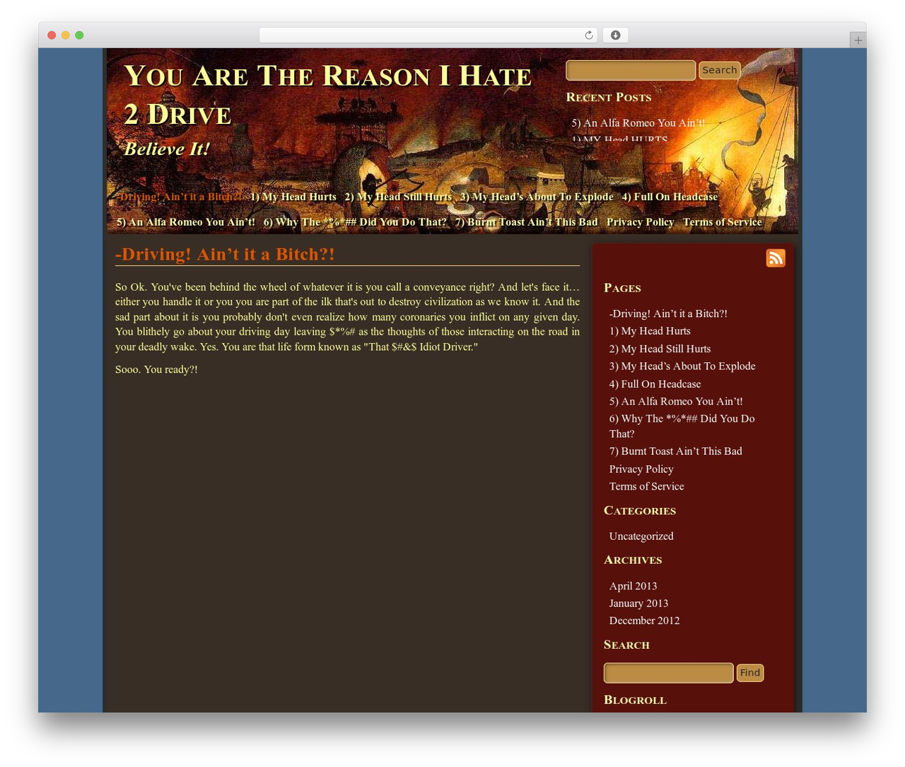 WP theme Mad Meg by BrokenCrust - yourethereasonihate2drive.com