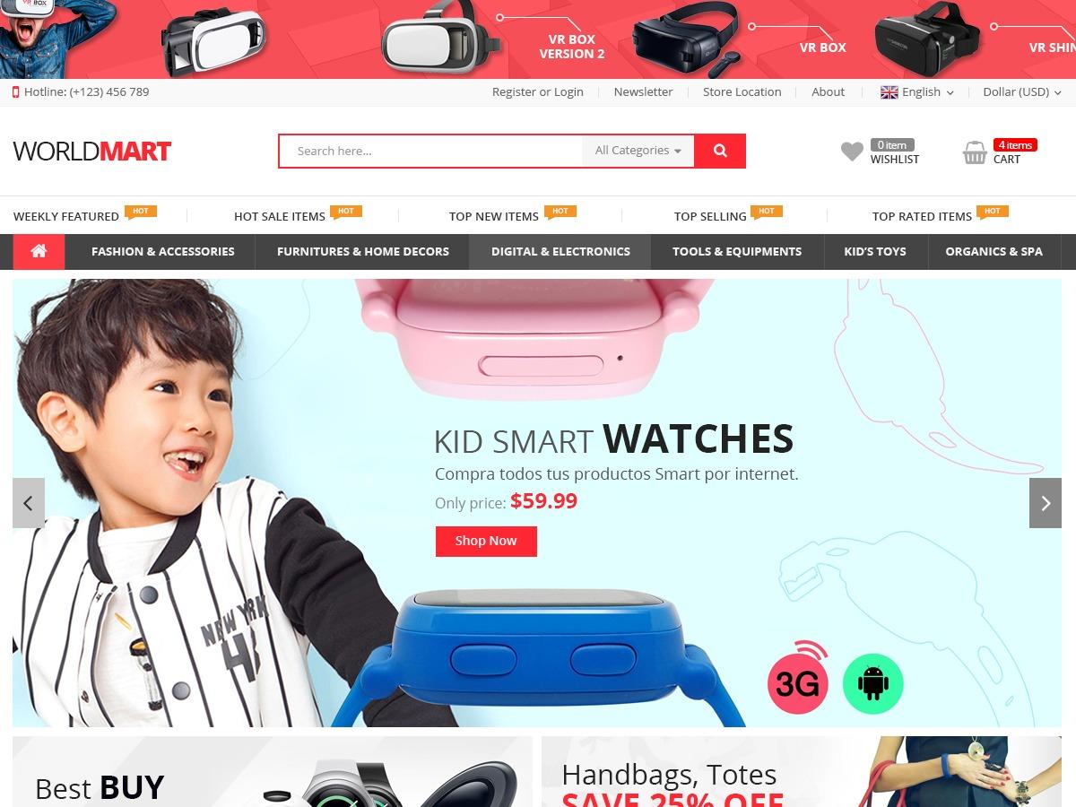 Worldmart WordPress ecommerce template