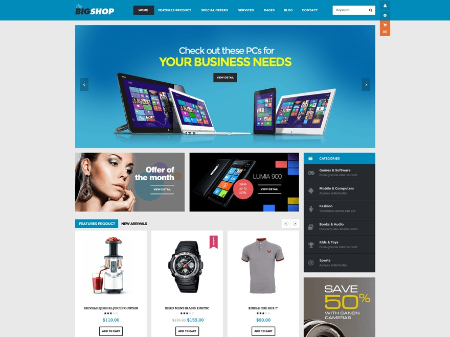 Bigshop WordPress shopping theme