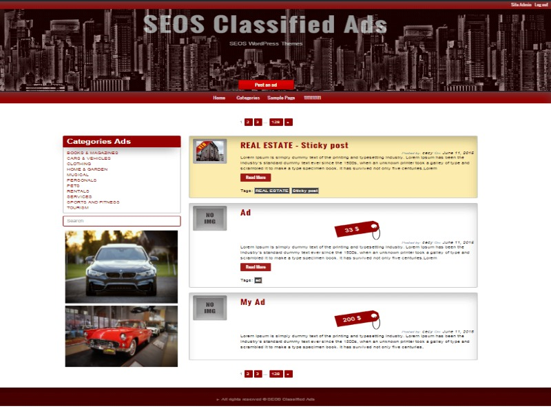 Classified Ads WordPress template free download