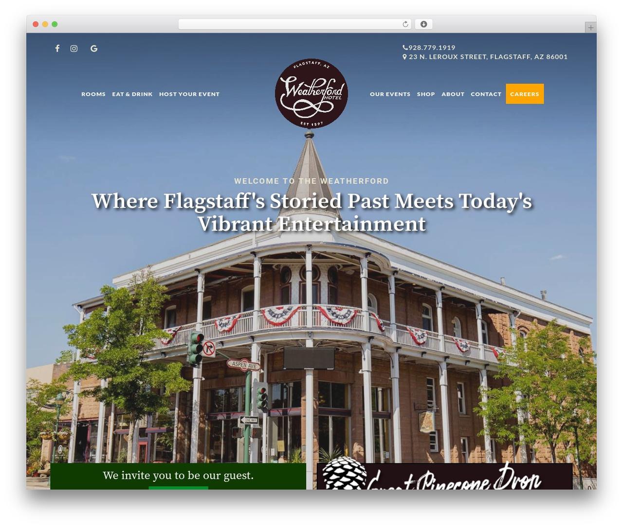 Grandium best hotel WordPress theme - weatherfordhotel.com