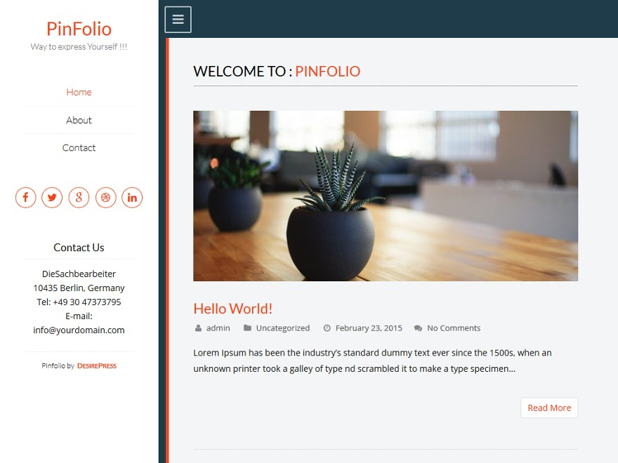 Pinfolio free WordPress theme