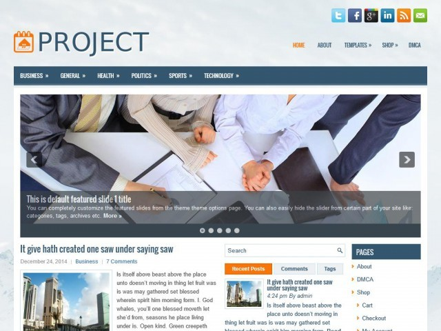 Project WordPress blog template