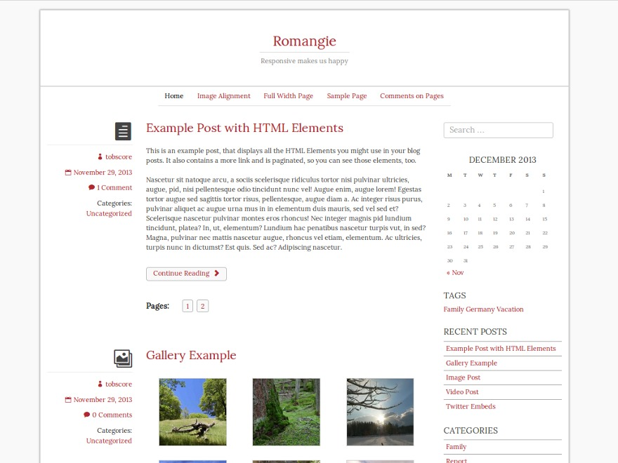 Romangie WordPress movie theme