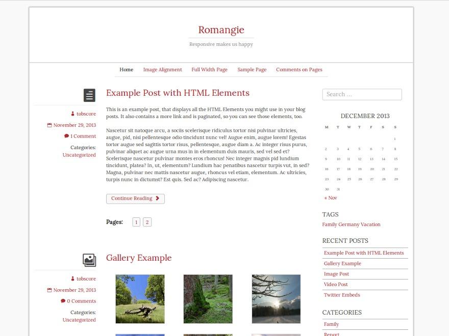 Romangie WordPress movie theme