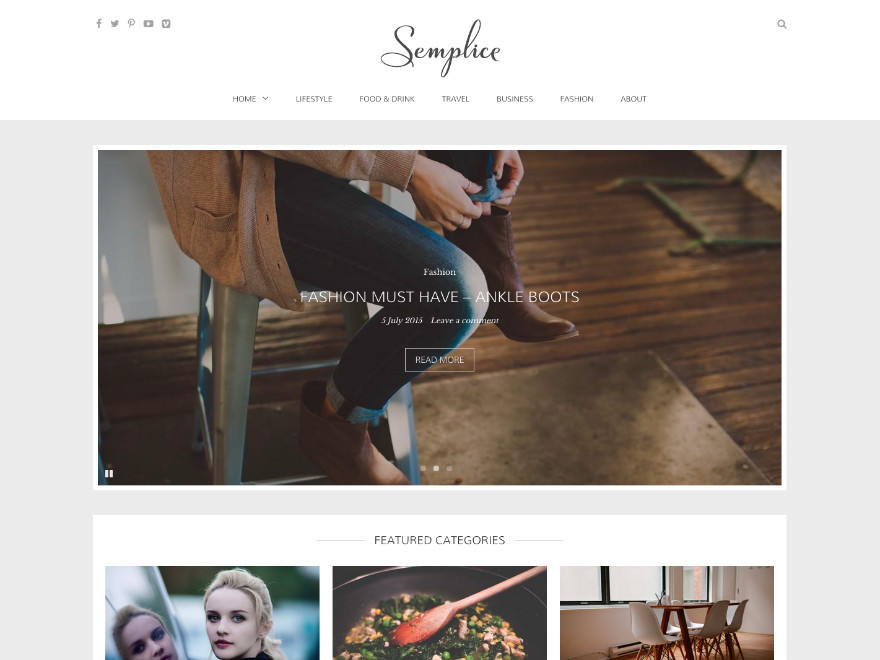 Semplice WordPress blog theme