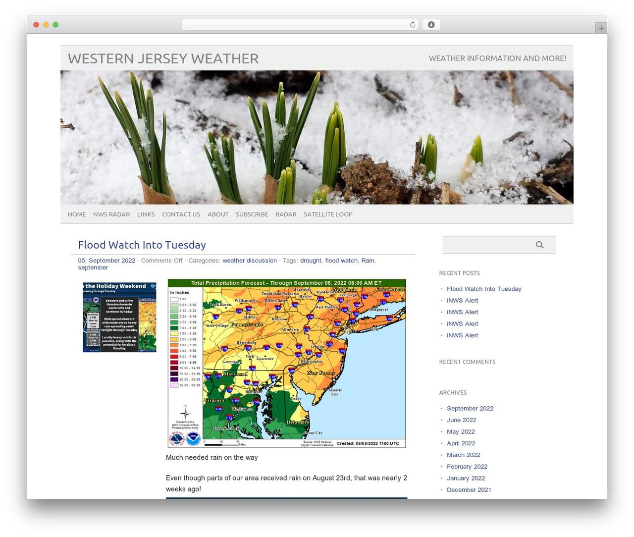 WordPress template picolight - westernjerseywx.com