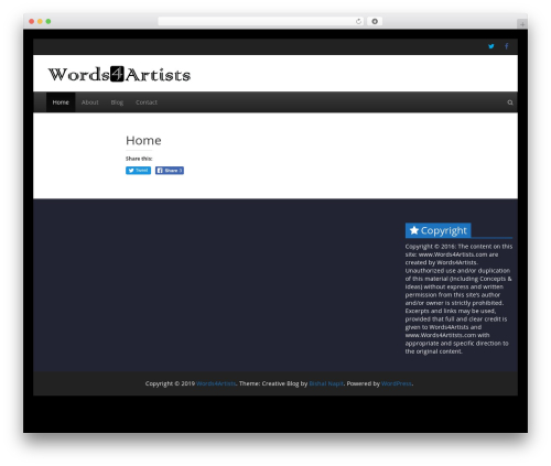 WordPress theme Creative Blog - words4artists.com