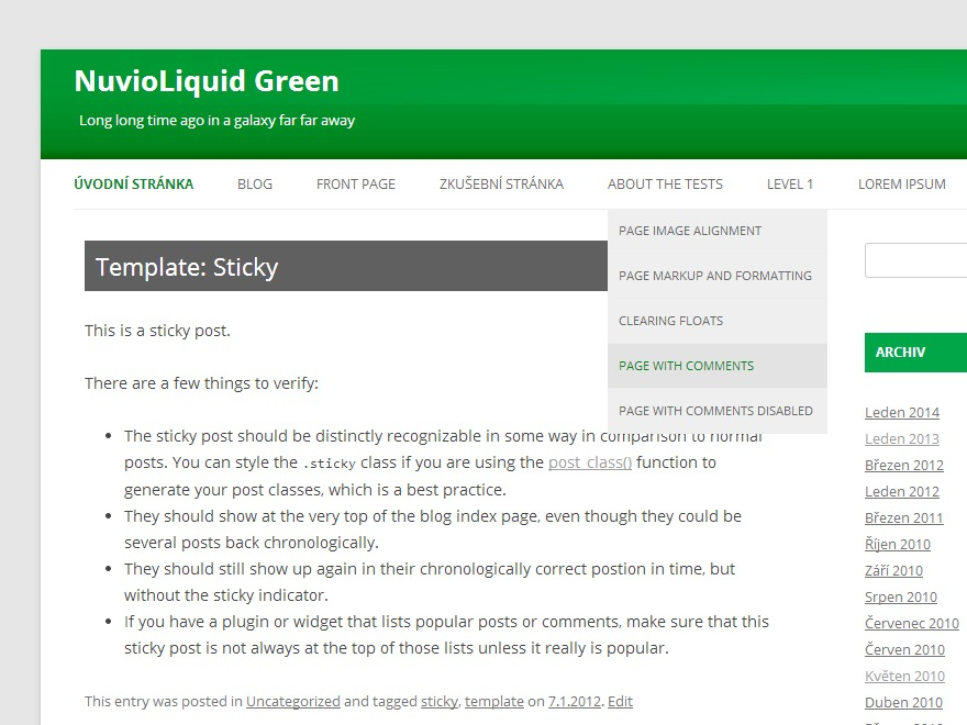 WordPress theme NuvioLiquid Green