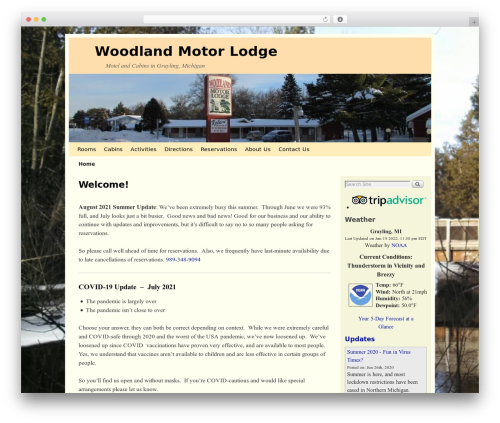 WP theme Weaver II - woodland-motel.com