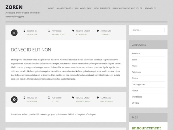 Zoren WordPress theme