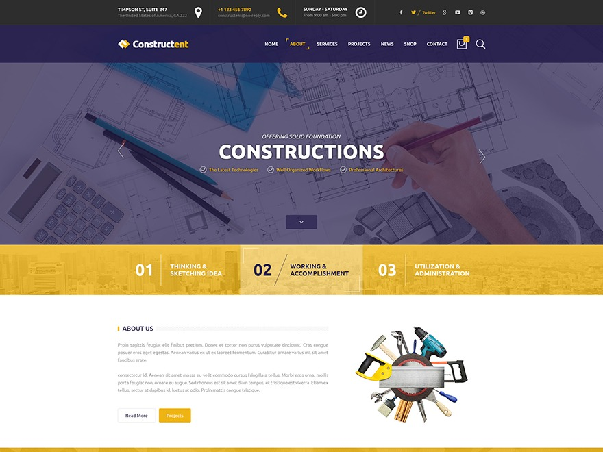 Constructent WordPress ecommerce template