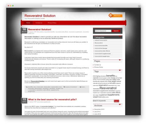 WordPress website template iDream - resveratrolsolution.com