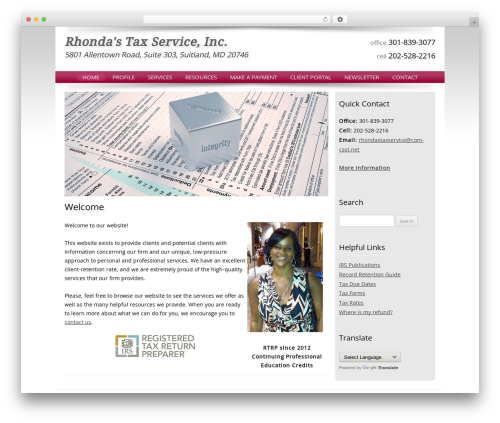 Customized top WordPress theme - rhondastaxservice.com