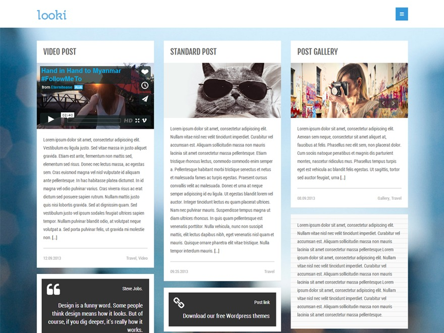 Looki WordPress blog template
