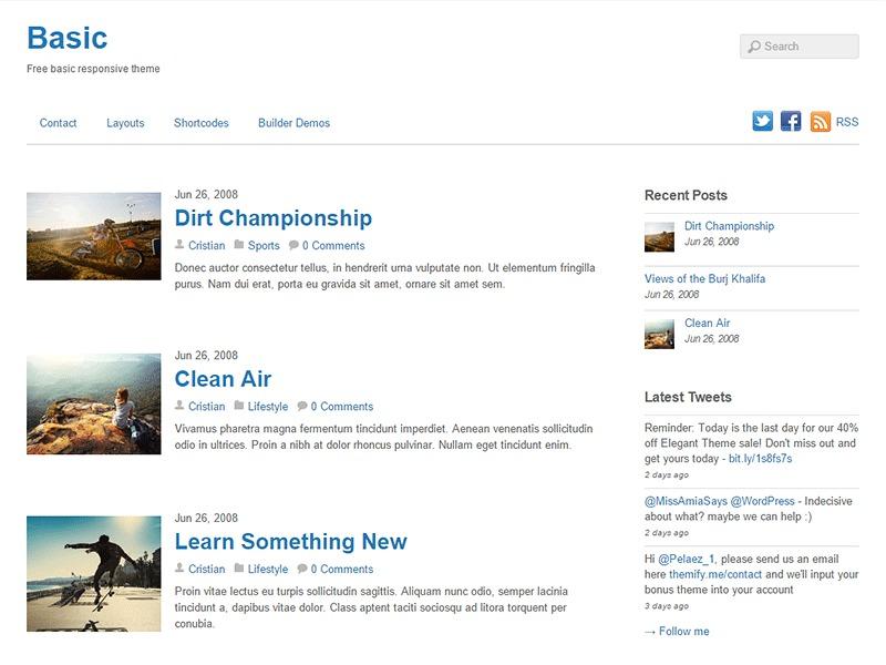 WordPress template Themify Basic Child