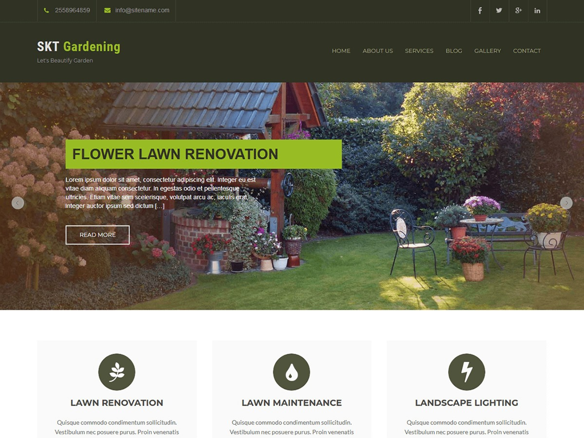 SKT Gardening Lite WordPress ecommerce template