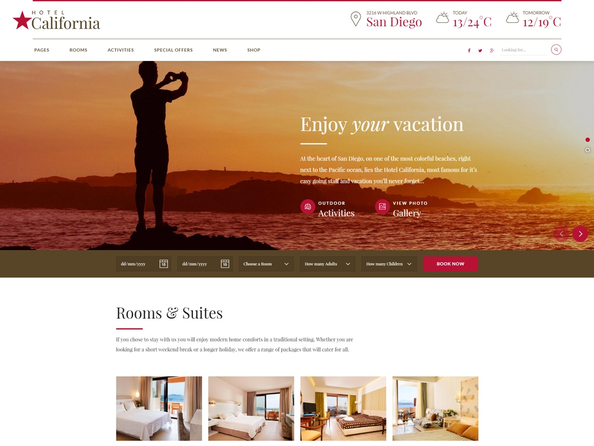 Hotelcalifornia best hotel WordPress theme
