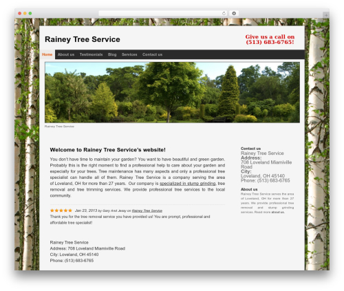 Optima WordPress template for business - raineytreeservices.com