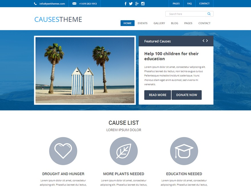 Causes PRO WordPress template for business