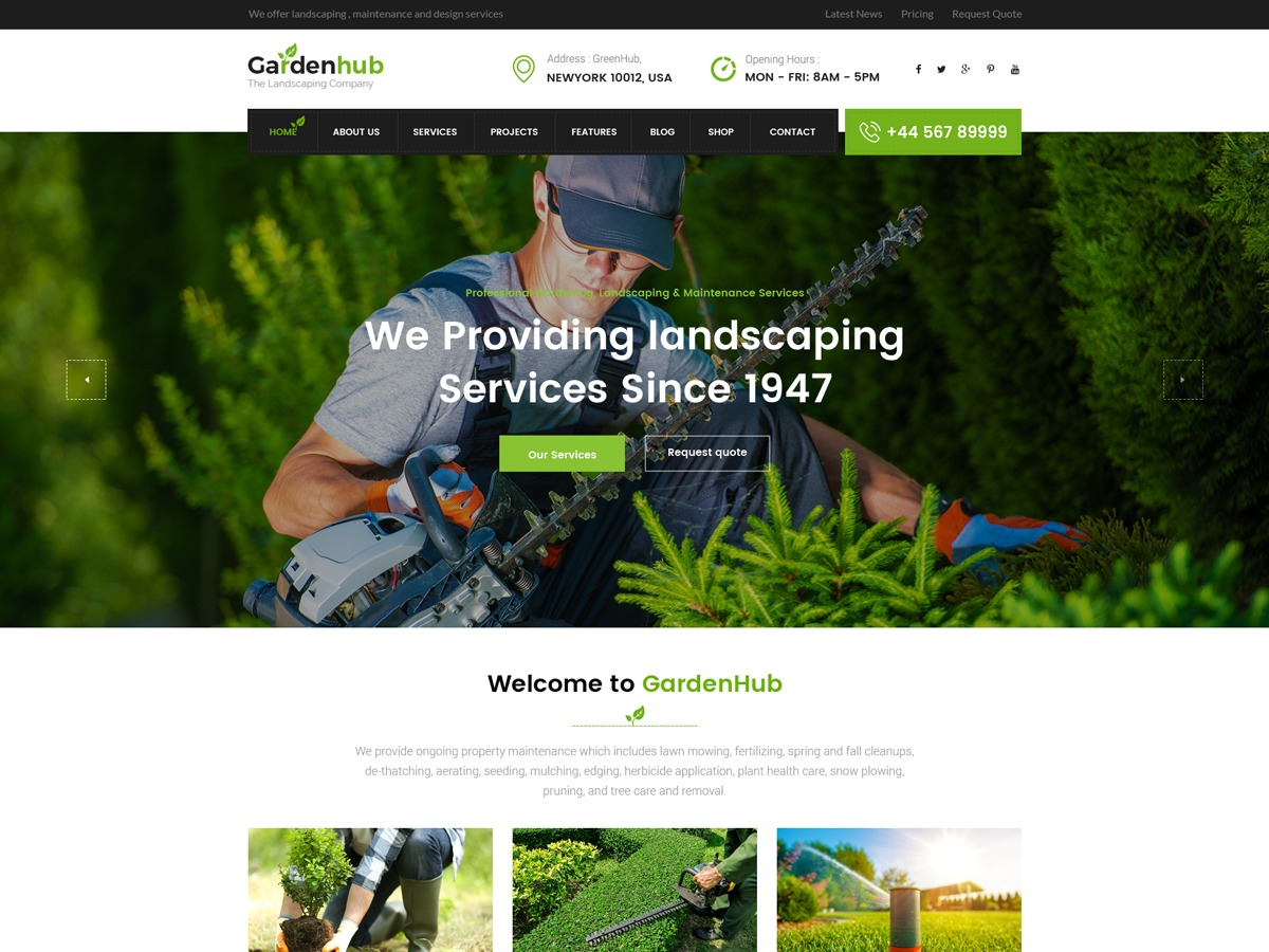 GardenHub WordPress template for business