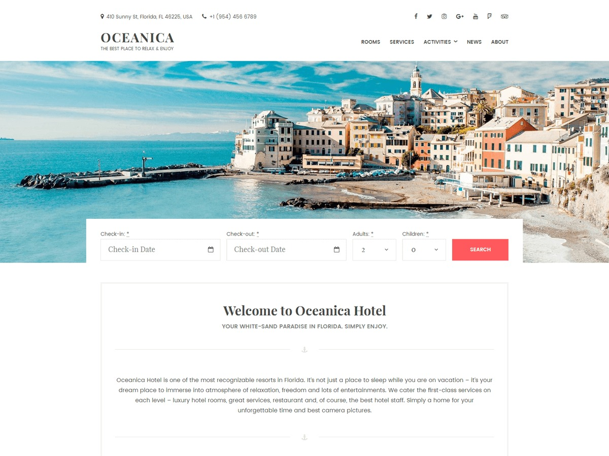 Oceanica WordPress template for business