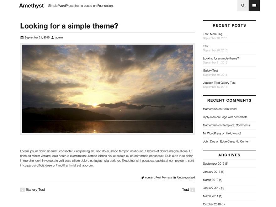 Amethyst template WordPress free