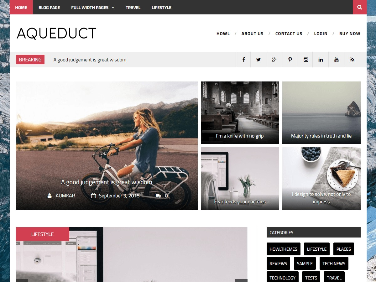 Aqueduct theme WordPress free