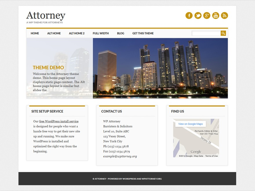 Attorney business WordPress theme