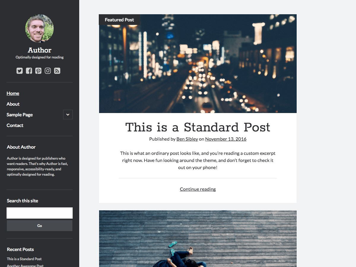 Author WordPress template free download