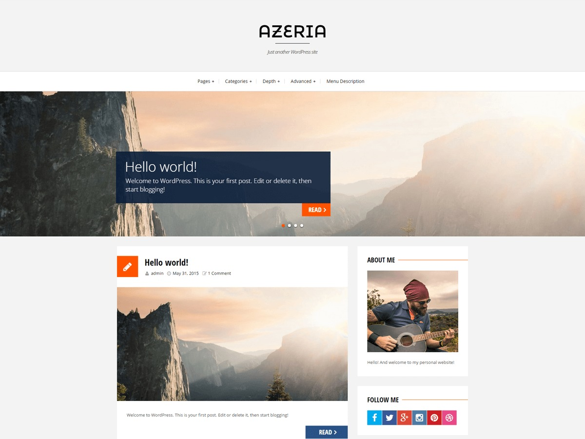 azeria WordPress template for business