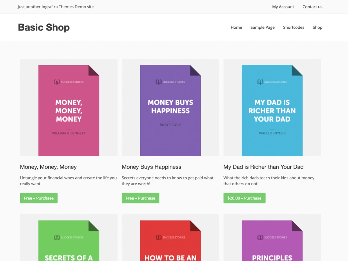 Basic Shop template WordPress free