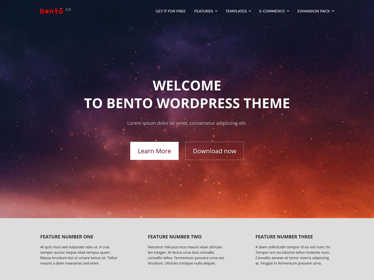 Bento WordPress shop theme
