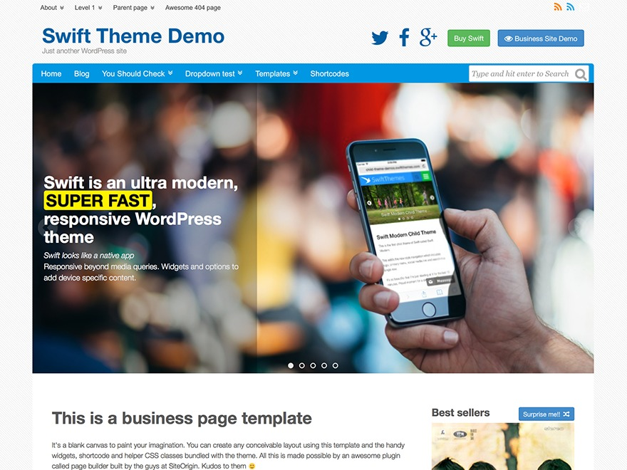 Best WordPress template Swift