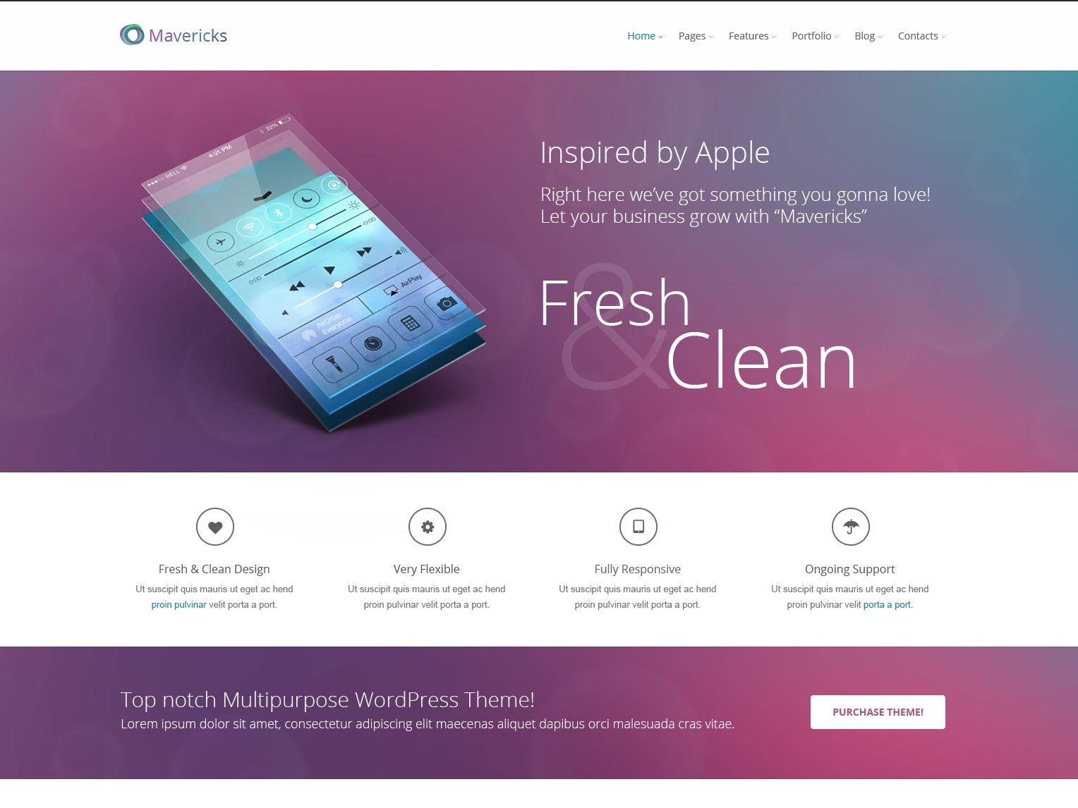 Best WordPress theme Mavericks Multipurpose Responsive WordPress Theme