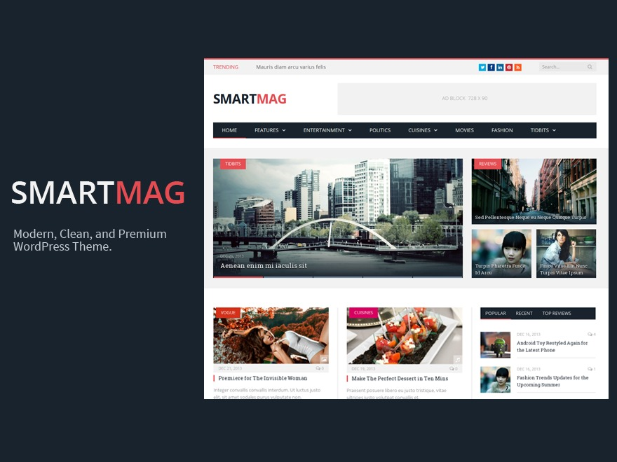Best WordPress theme SmartMag (Share On Theme123.Net)