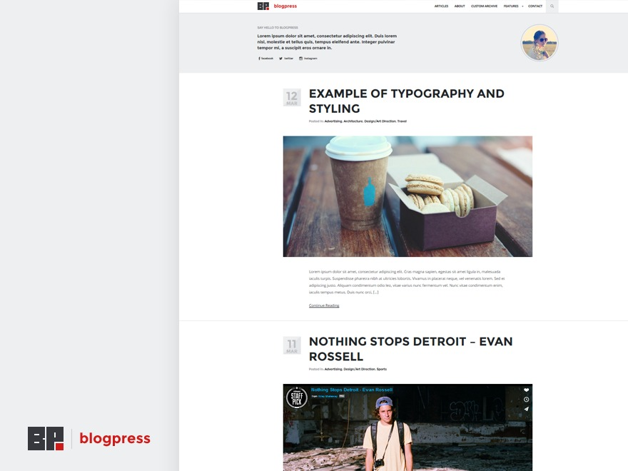 BlogPress WordPress blog theme