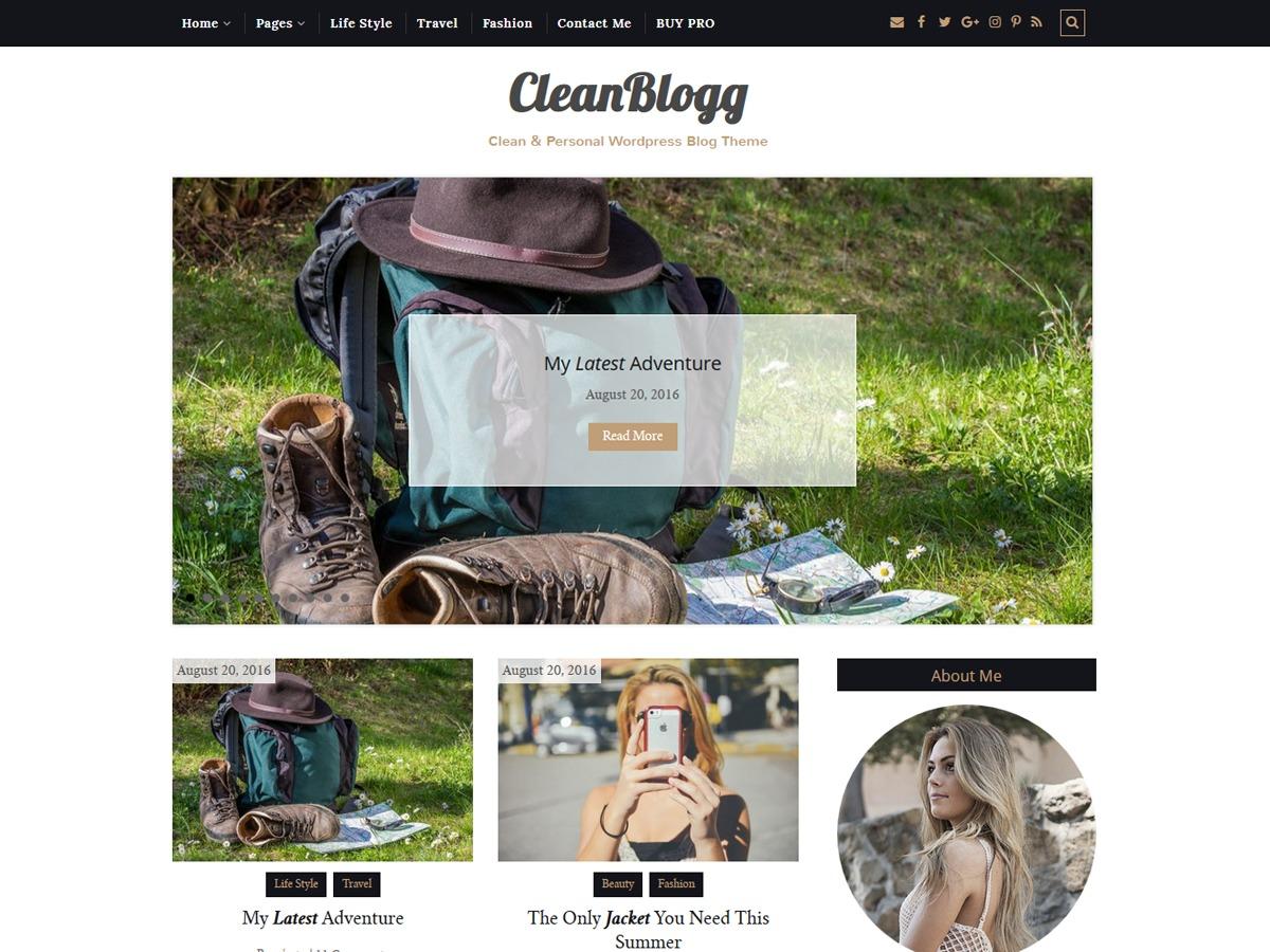 CleanBlogg theme WordPress free