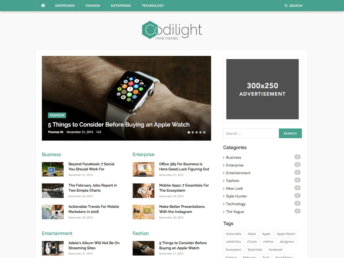 Codilight WordPress page template
