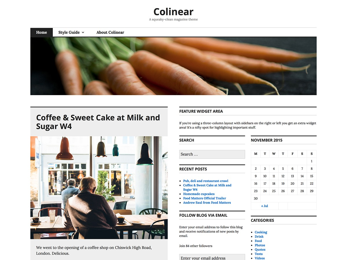 Colinear WordPress news template