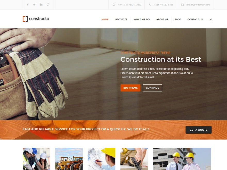 constructo personal blog WordPress theme