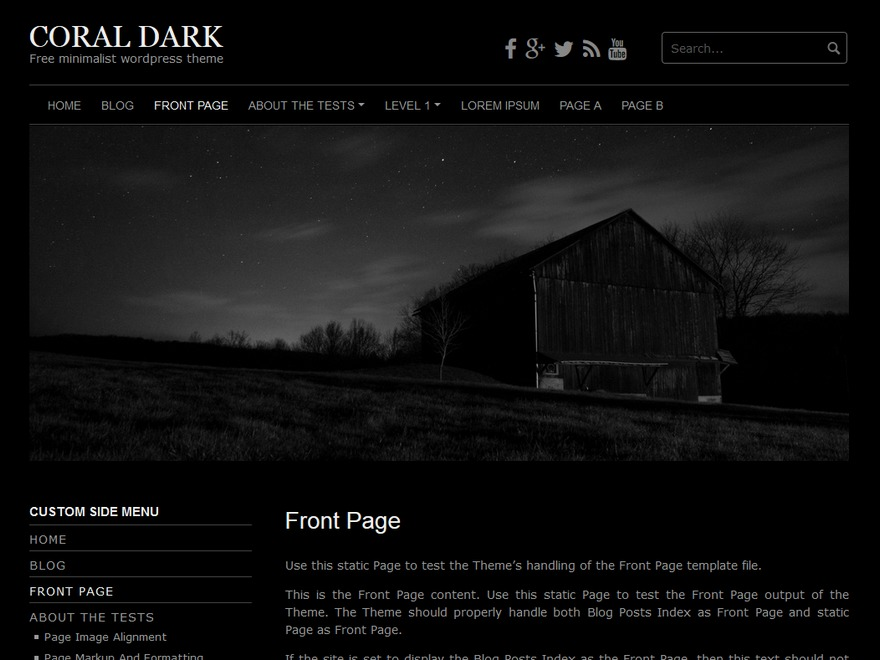 Coral Dark template WordPress free