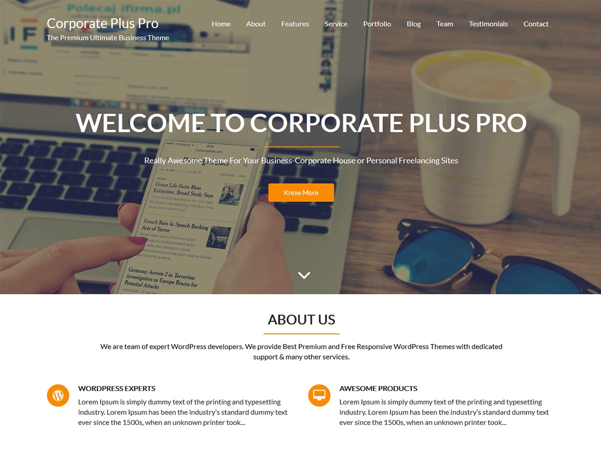 Corporate Plus Pro WordPress template for photographers