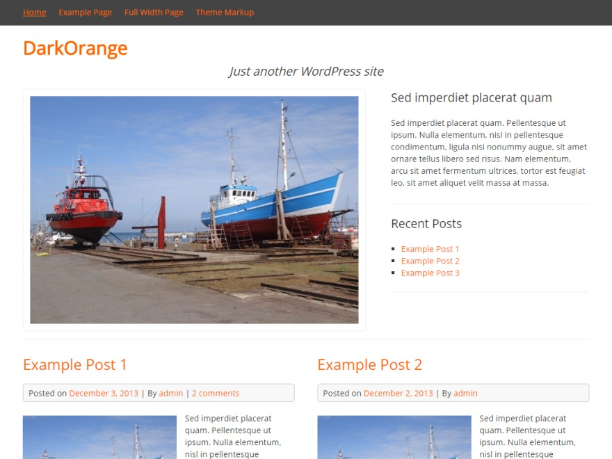 DarkOrange theme WordPress free