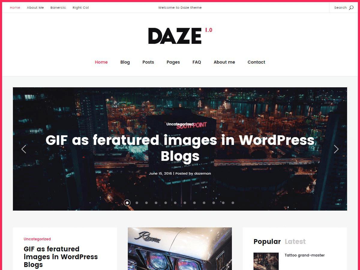 Daze WordPress blog template
